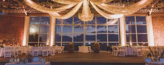Pavilion stage wedding lighting and decorations at Roanoke Island Festival Park