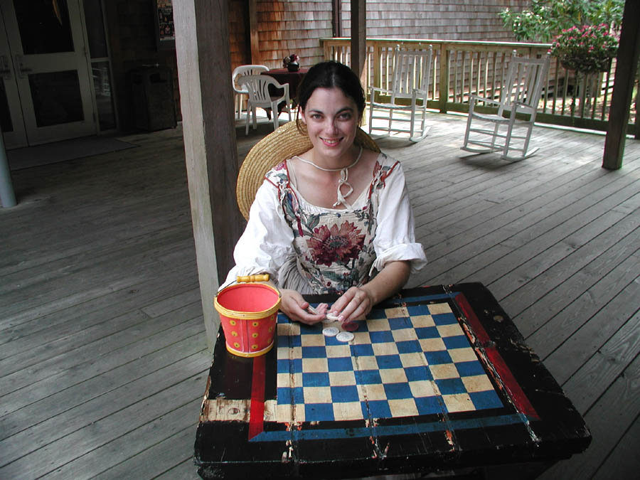 Historic female interpreter playing Elizabethan games