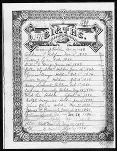 Holden Bible record birthdates page