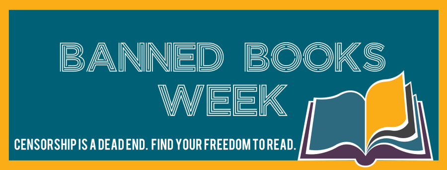 Image contains an open book and words with the Banned Books Week theme