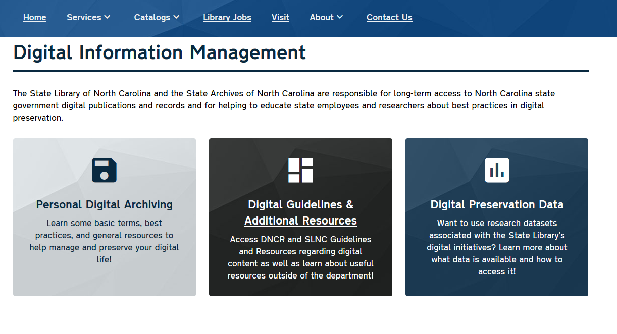 a screenshot of the new digital information management page