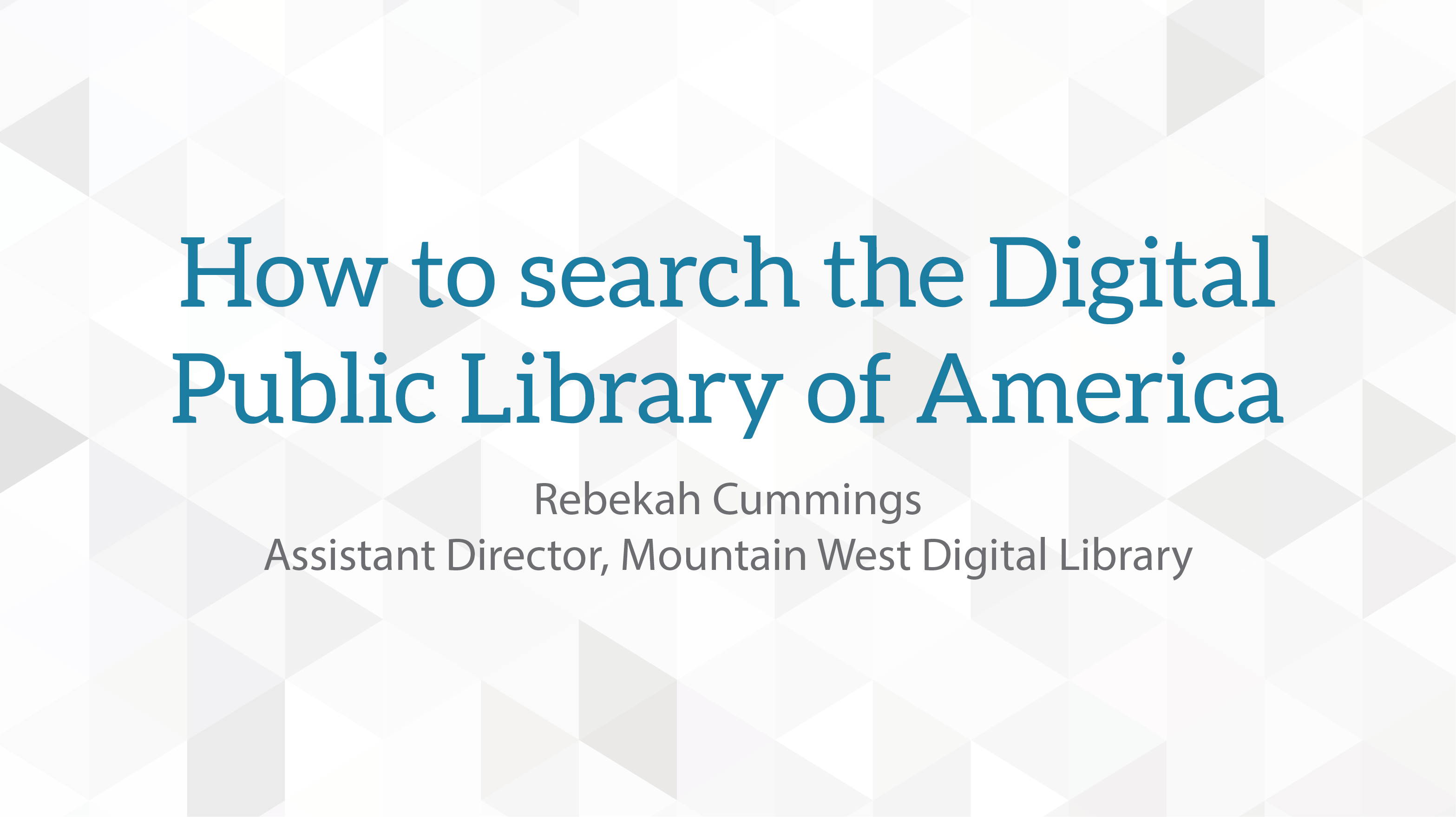 How to search the Digital Public Library of America