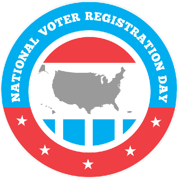 red, white and blue round logo for National Voter Registration Day. Icon of the United States in the middle of the logo in gray.