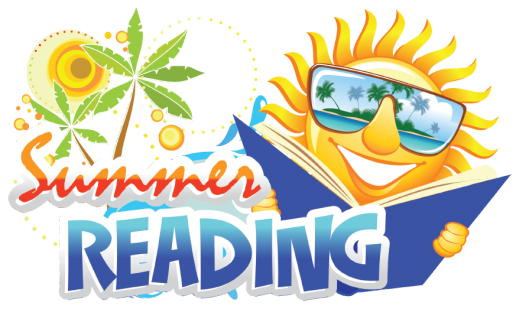 Palm tree and sun stars sit behind a sun wearing sunglasses with a book open in its hands reading behind the words summer reading