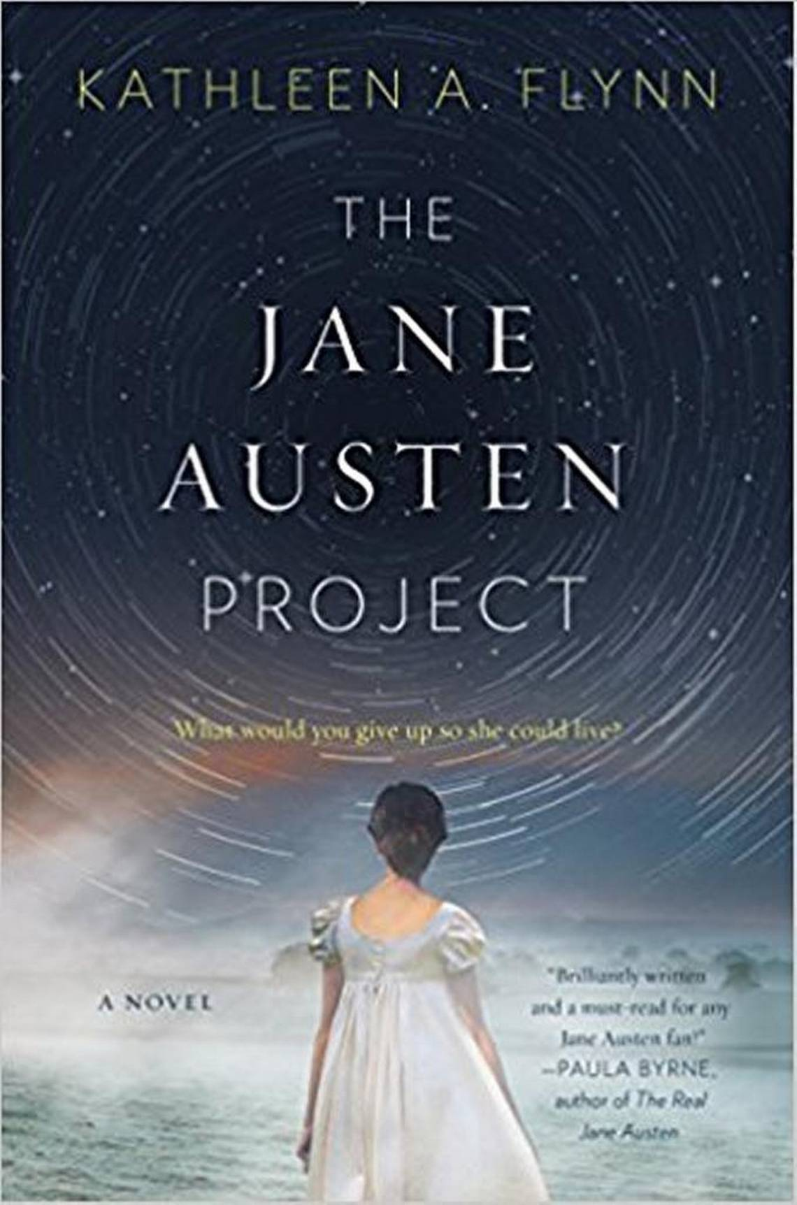 A dark blue book cover with a woman with her back to us looks up at a swirling star pattern and the words within it say from the top Kathleen A Flynn, The Jane Austen Project