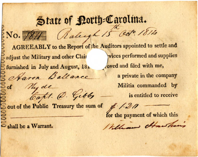"War of 1812 pay voucher, towards the bottom says ""Aaron Ballance private in the company of Hyde militia commanded by Capt. D. Gibbs"""