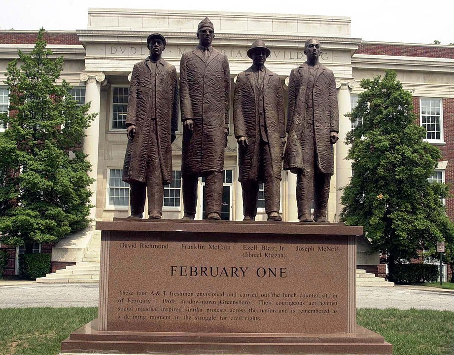 Photograph of  bronze statue of the A&T Four (Greensboro Four) on the campus of North Carolina A&T University, Greensboro, N.C.,