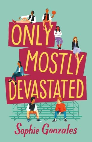 book jacket featuring two male high school students sitting on bleachers and two male and three female high school students around the title