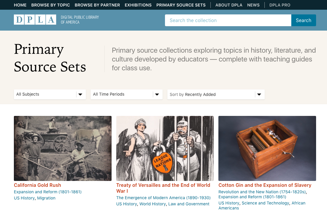 Primary Source Sets in the Digital Public Library of America