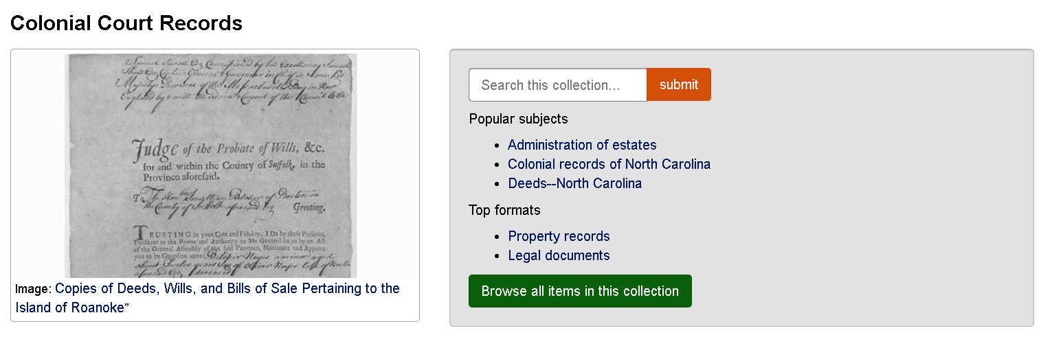 right: image of original records, left: search bar with popular topics