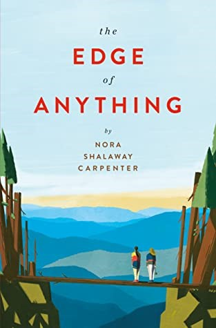 book jacket featuring two girls standing on a log bridge overlooking mountains