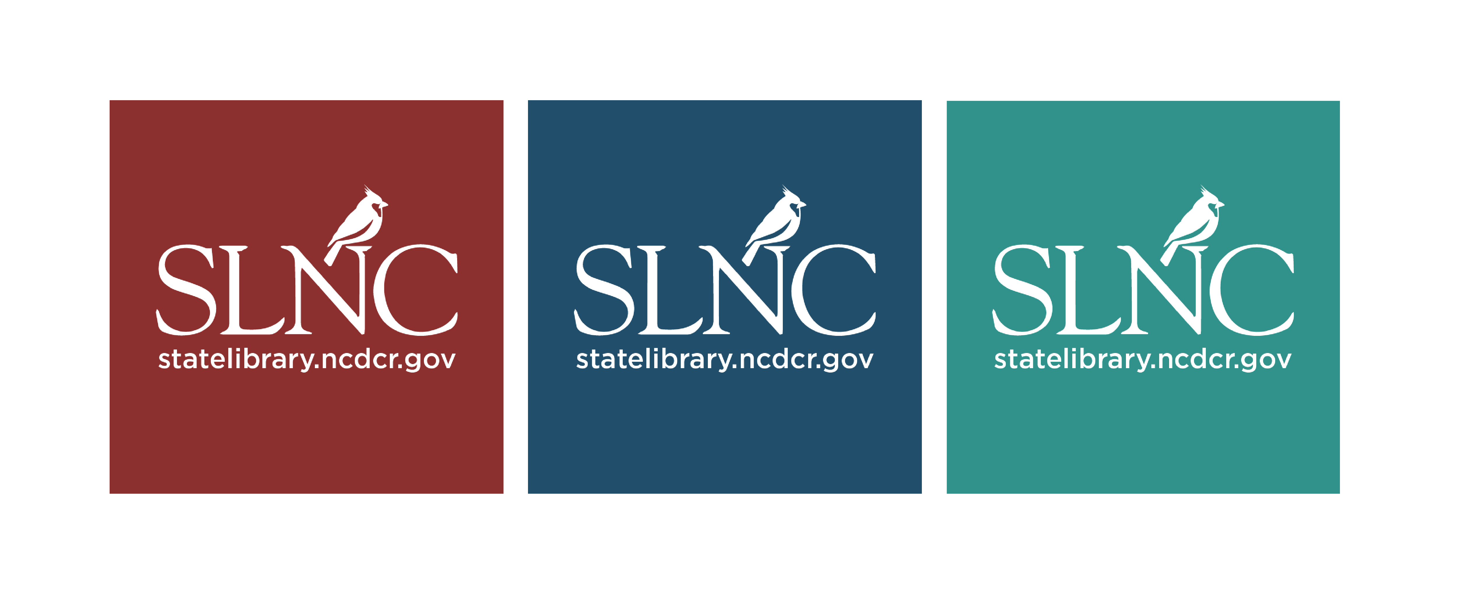 Three versions of the new logo on cardinal red, deep blue and turquoise backgrounds