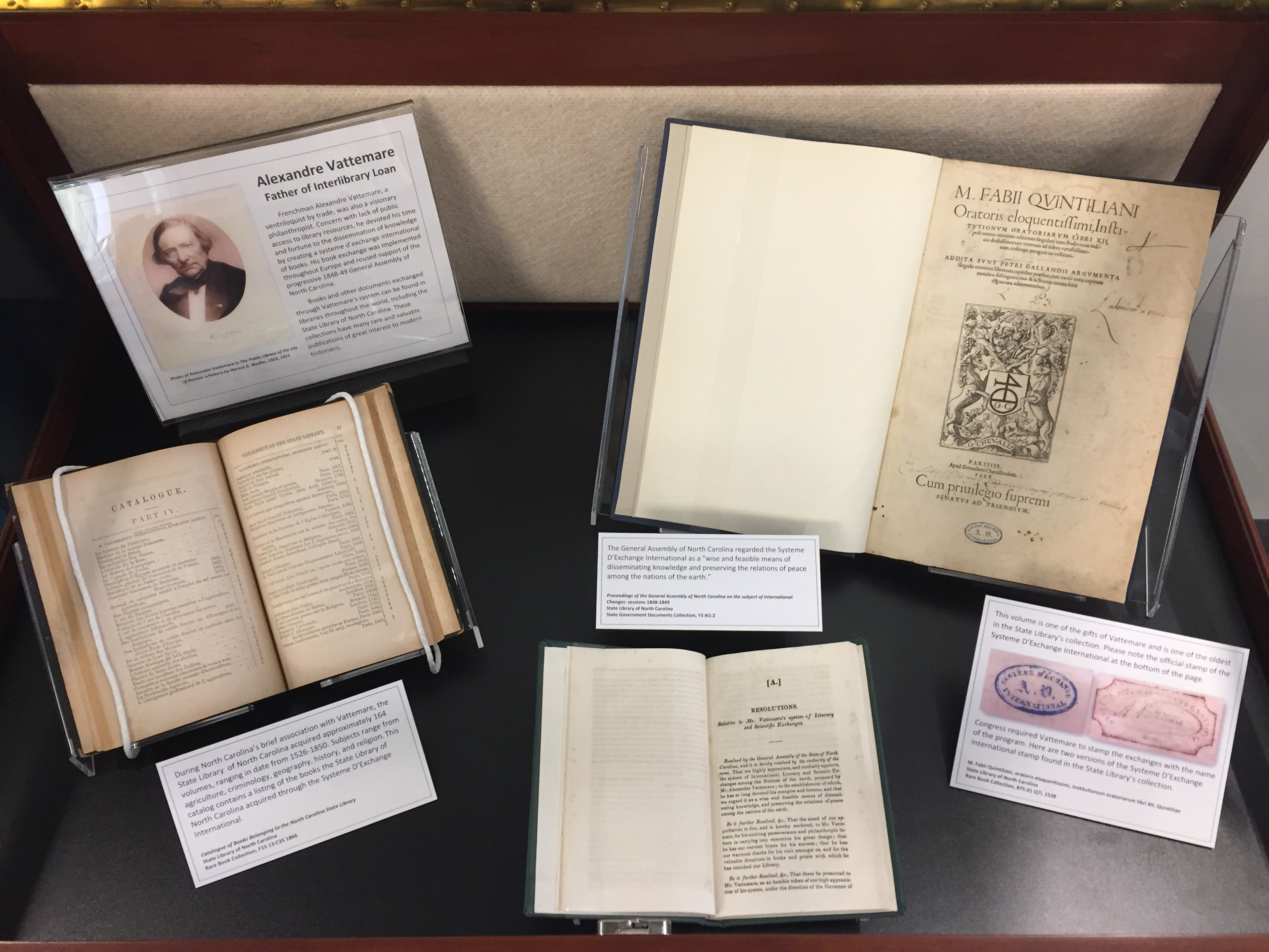 Alexander Vattemare: Father of Interlibrary Loan exhibit in the State Library reading room.