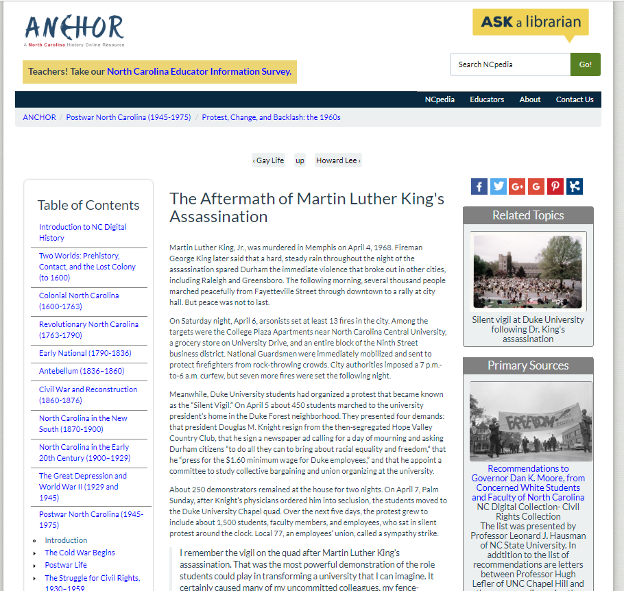 """Sample ANCHOR page, """"The Aftermath of Martin Luther King's Assassination"""" (link: https://www.ncpedia.org/anchor/aftermath-martin-luther)"""