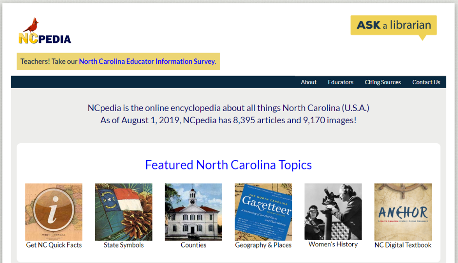 The NCpedia home page (link: https://www.ncpedia.org/)