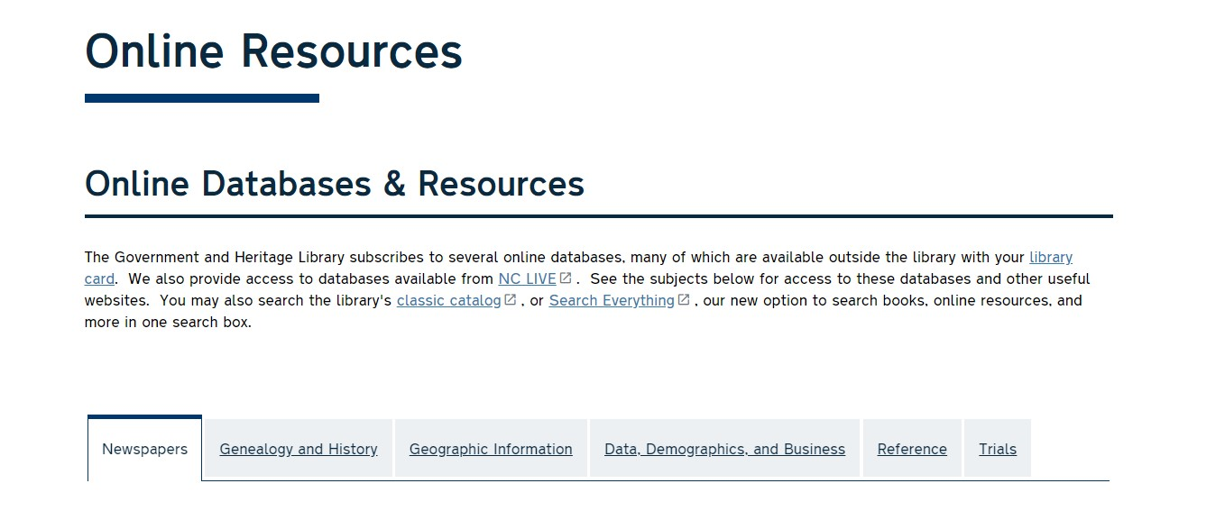 Online Databases and Resources screenshot