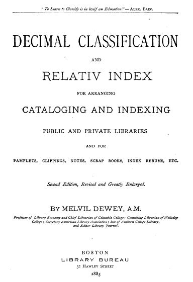 Title page to Dewey's Decimal Classification guidelines from 1885.