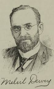 Sketch image of Melvil Dewey, creator of the Dewey Decimal Classification system.