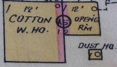 map showing a frame building with a brick front in Sanborn maps