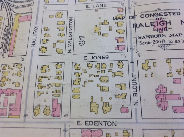Sanborn map of Raleigh, 1914, showing Jones Street where the State Library is now located.