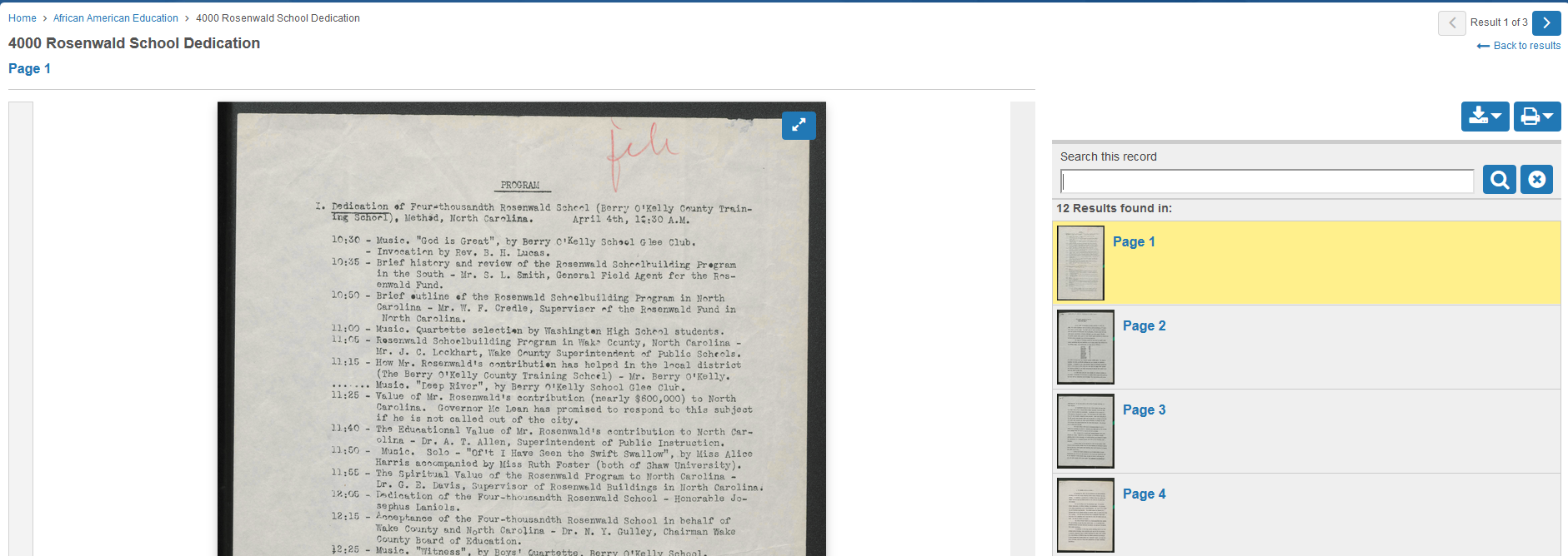 Figure 6: The 4000 Rosenwald School Dedication document, page 1 on new site.