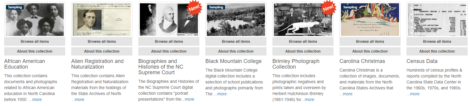 NC Digital Collections homepage