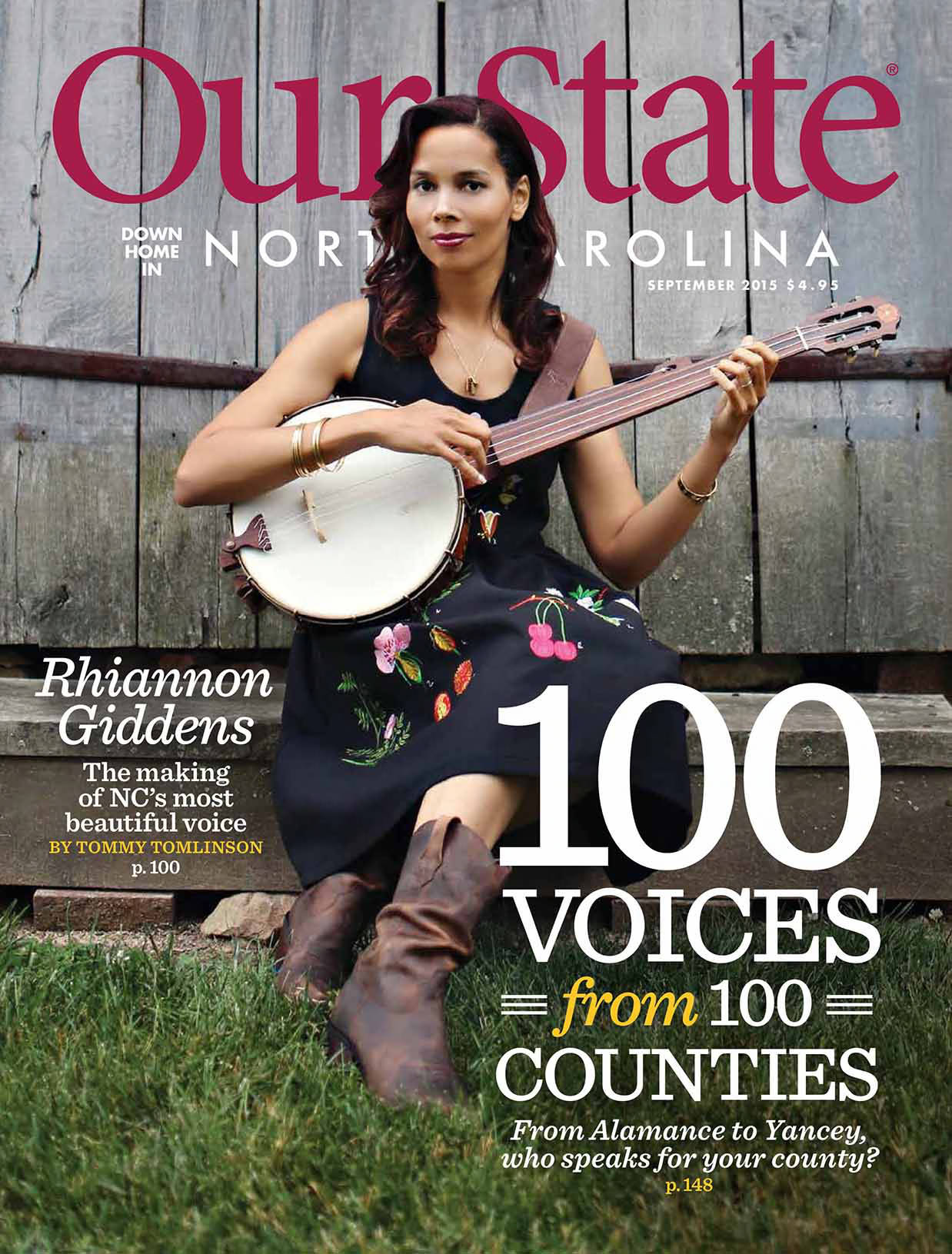 featuring musician Rhiannon Giddens holding a banjo