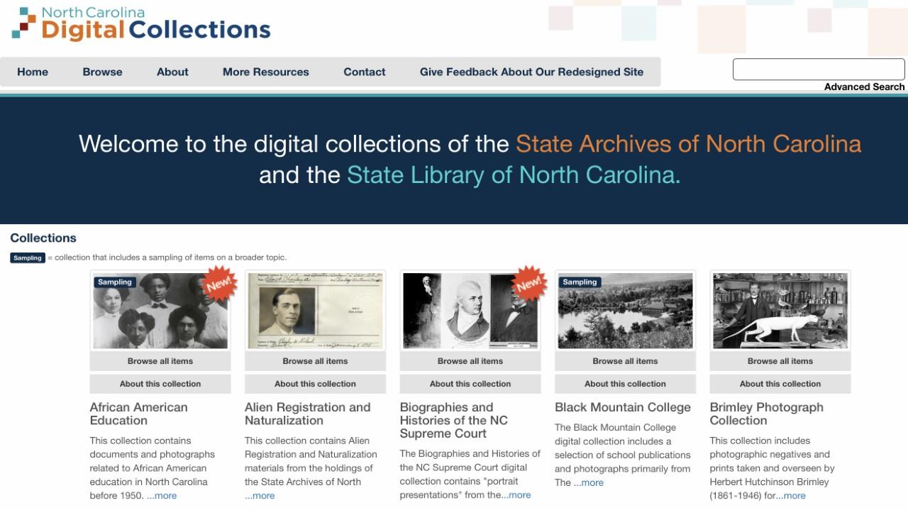 screenshot of the North Carolina Digital Collections homepage