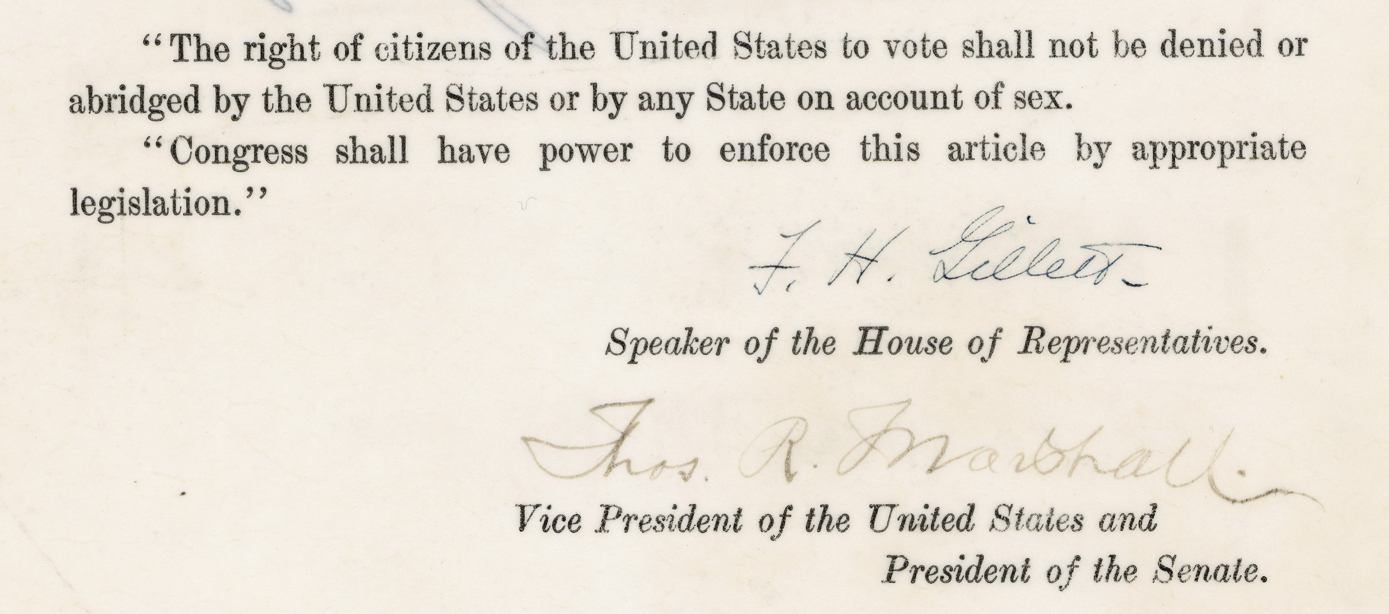 Displays the closing article of the resolution and signatures from the Speaker of the House of Representatives and Vice President of the United States.