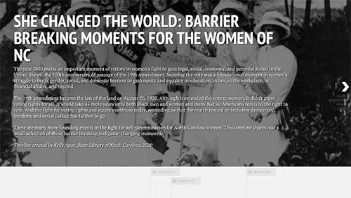 Screenshot of the interactive timeline featuring an image of suffragists behind introductory text.
