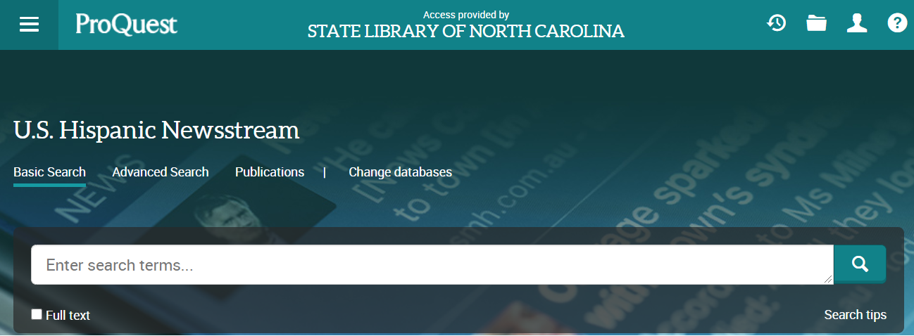 Image of the database landing page featuring a search box