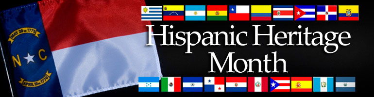 graphic of the North Carolina state flag (red, white and blue ) and several different flags from Hispanic countries.