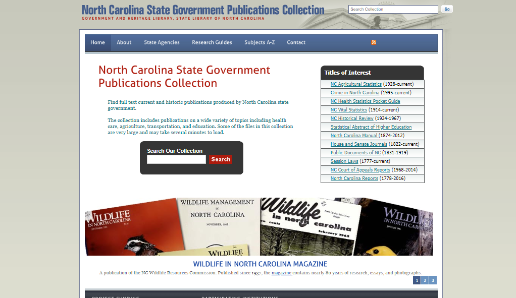 State Government Publications Collection Homepage