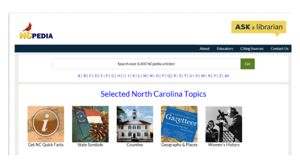 Screen shot of NCpedia.org