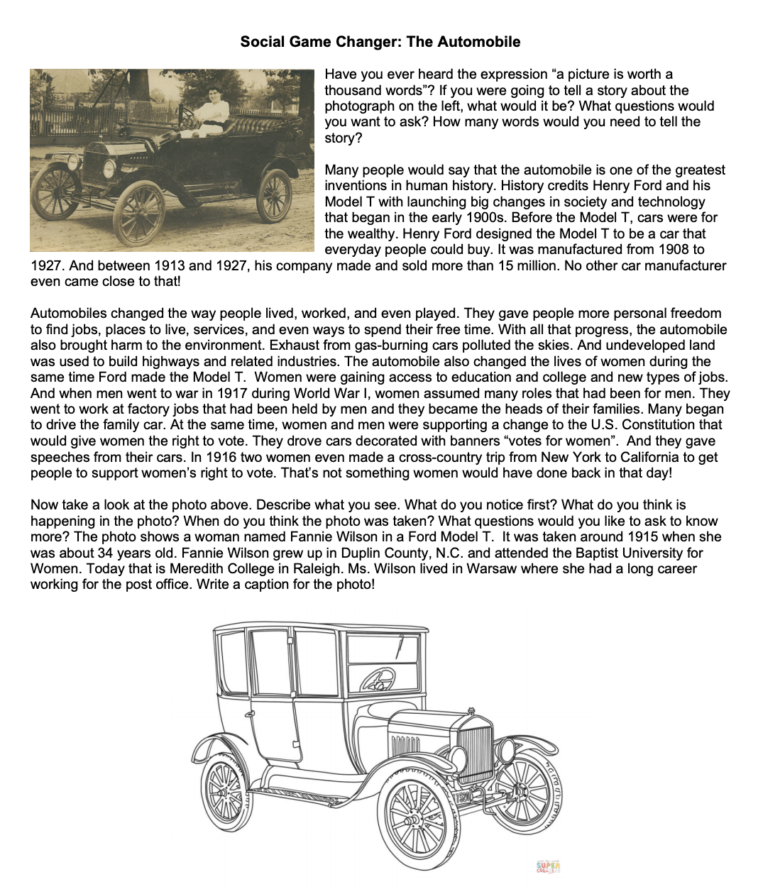 Image shows document with two pictures of Model T cars.