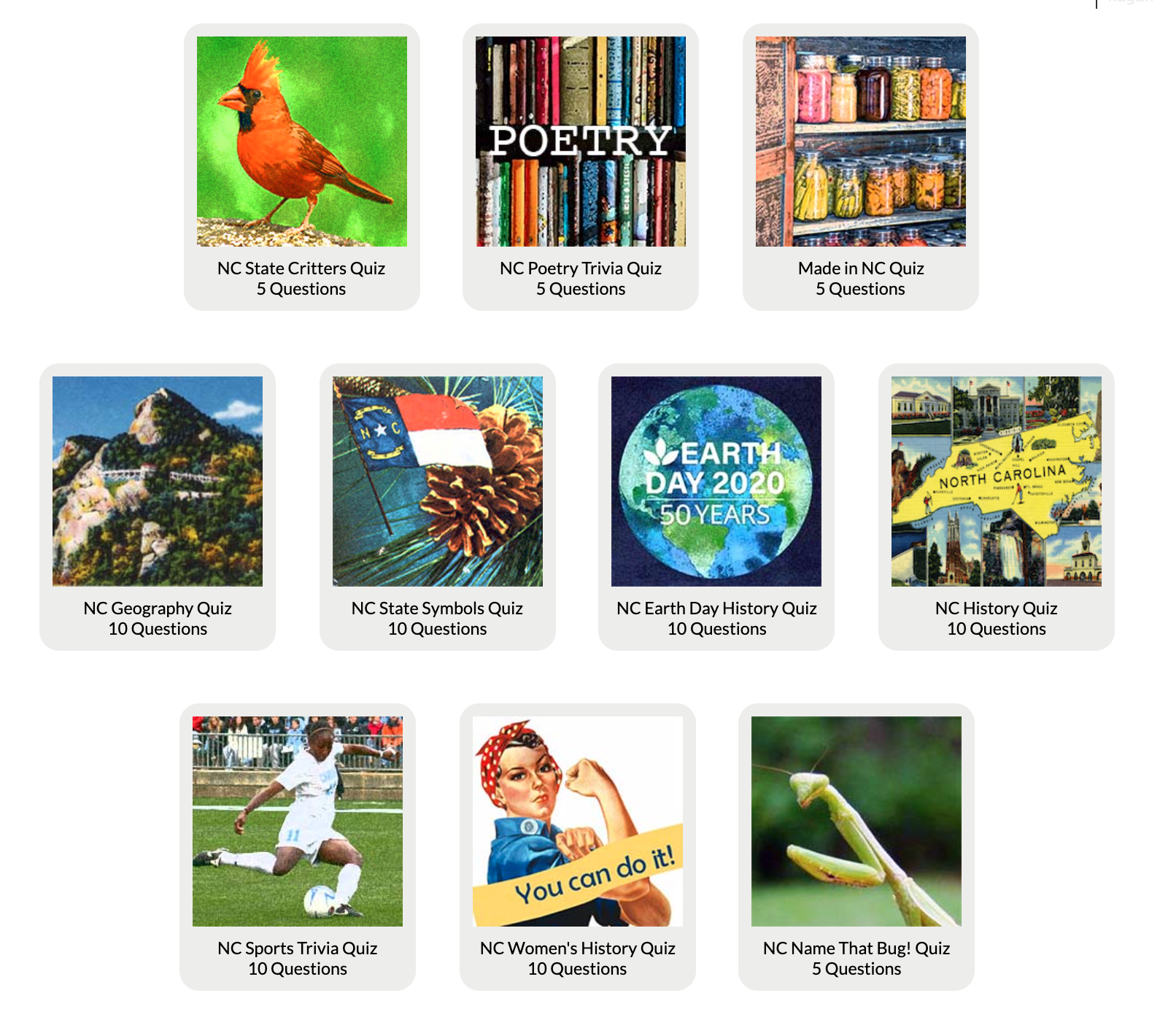Image contains ten icons, each for a particular NCpedia quiz. Icons include pictures of a cardinal, bookshelf, food in jars, mountains, the NC flag with a pinecone, the Earth, a silhouette of NC with pictures of historic buildings around it, a soccer player, Rosie the Riveter, and a praying mantis.