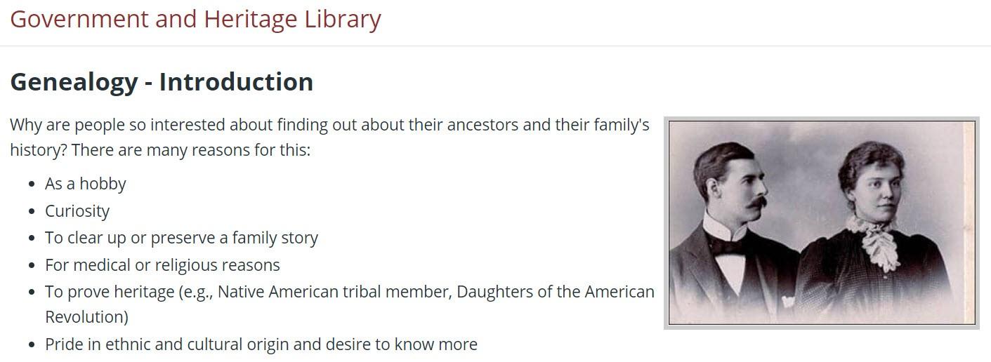 Genealogy tutorial landing page