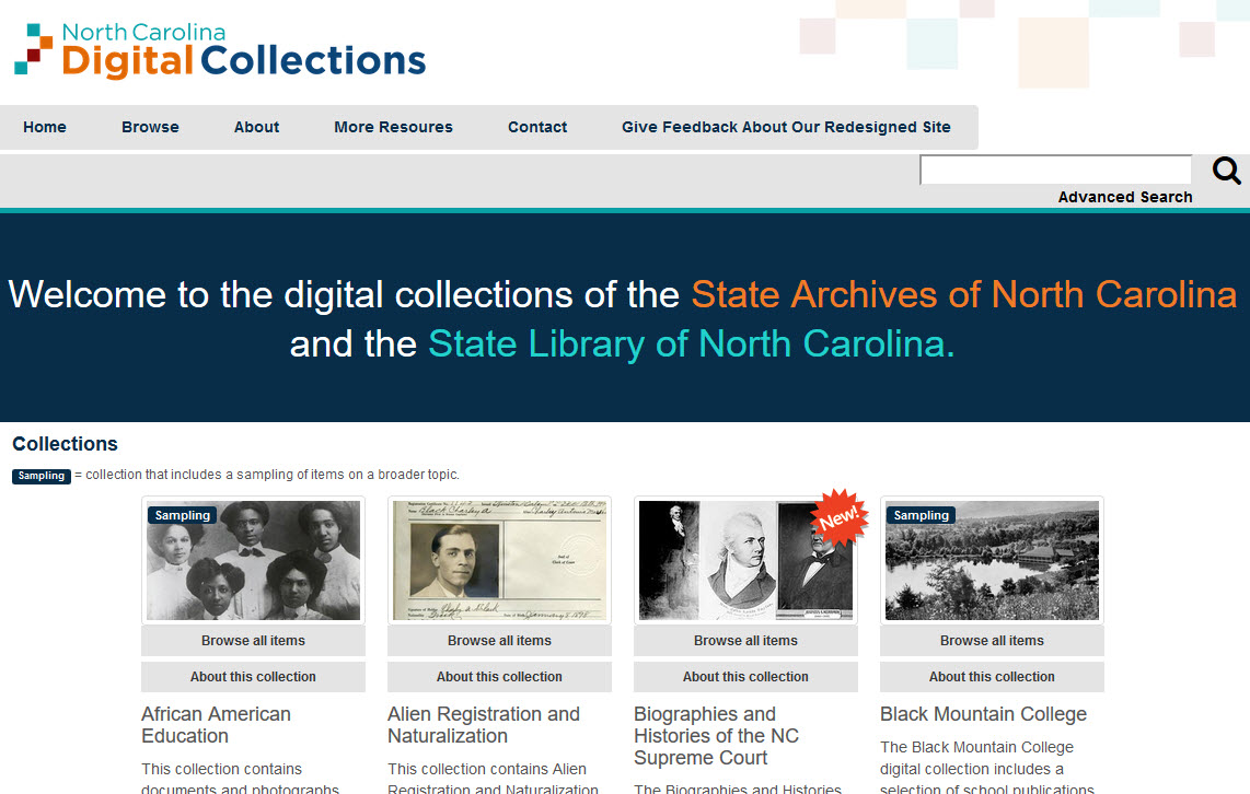 The North Carolina Digital Collections has a new look!