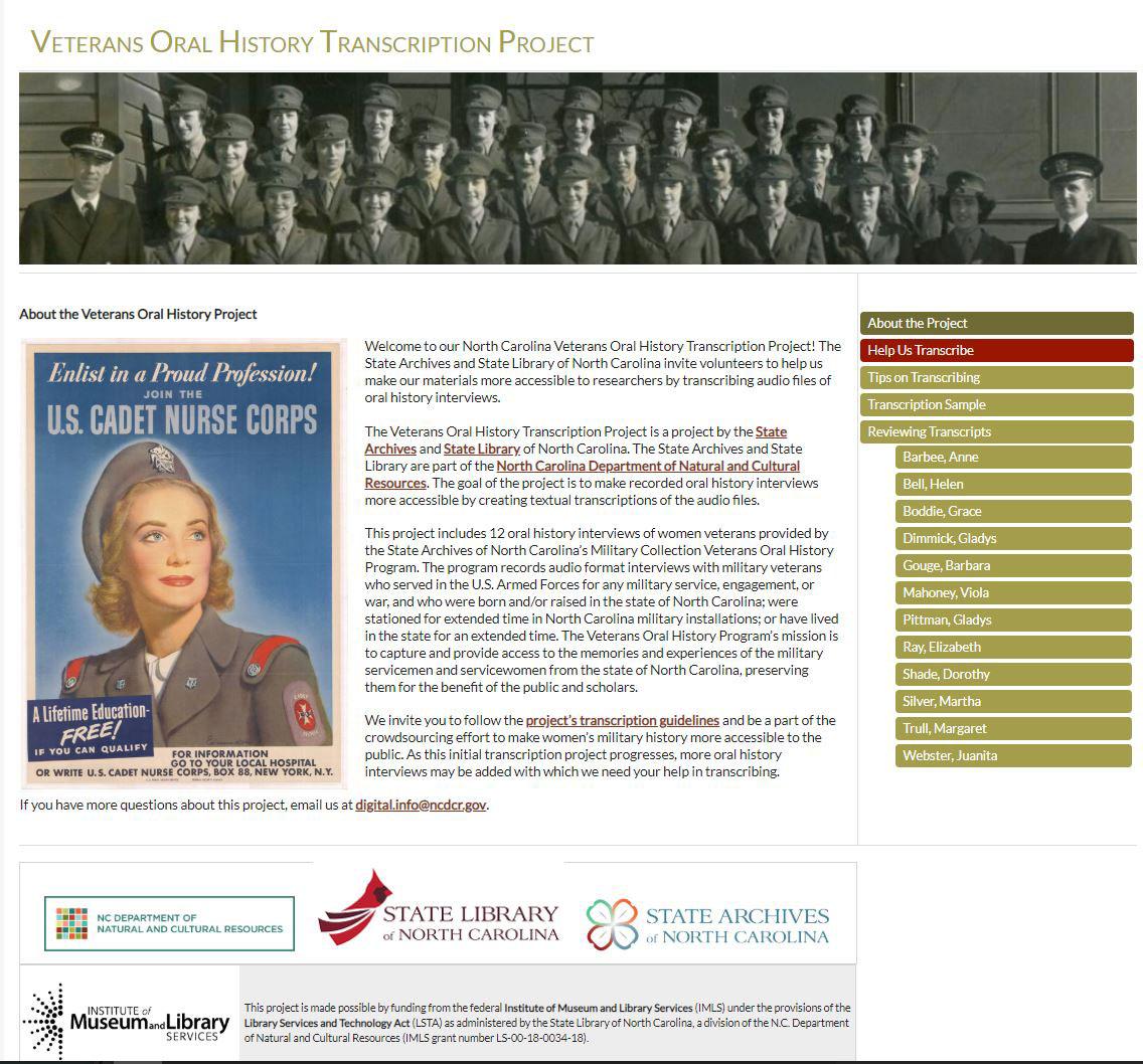 Veterans Oral History Transcription Project website