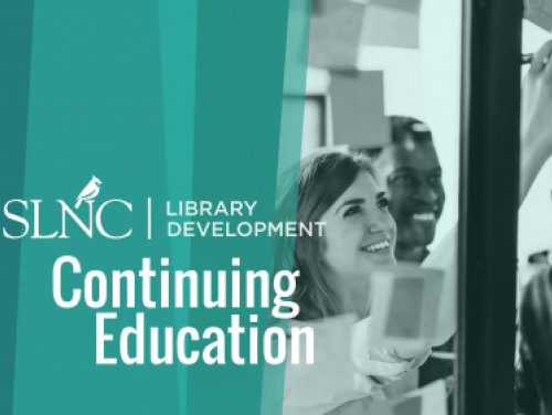 State Library Continuing Education Logo with green background split with image of people gathered outside a window