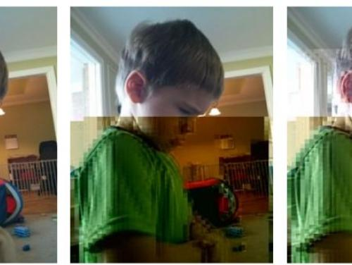 example of bitrot - 3 digital images of a young boy