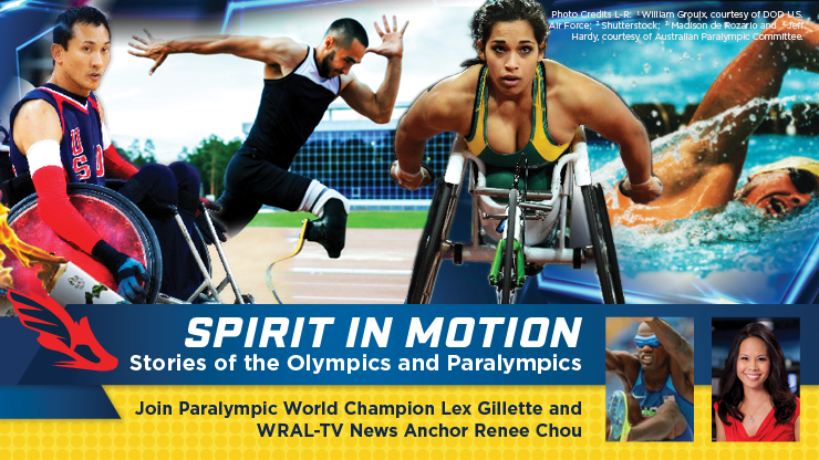 Promotion image for event. Four Paralympic competitors are seen participating in their events. In the bottom right is a smaller close up shot of Lex Gillette longing jumping and to his right an profile picture of Renee Chou