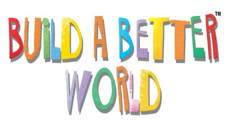 A rainbow colored collection of letters spells out the words build a better world