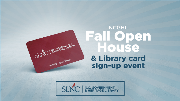 Graphic of Government & Heritage Library Card - Fall open house and Libary card sign-up event
