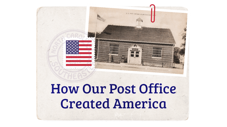 Old post card with stamp and an old photo image of a post office building
