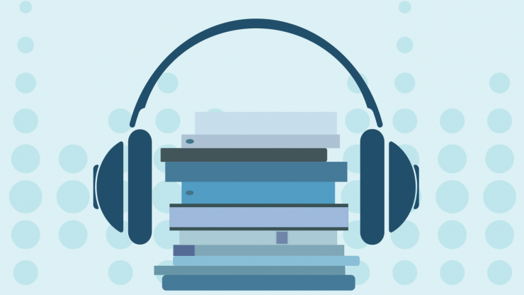 A pair of headphones is shown around a stack of books mimicking a head listening to audio, on top of a blue background with sounds bubbles