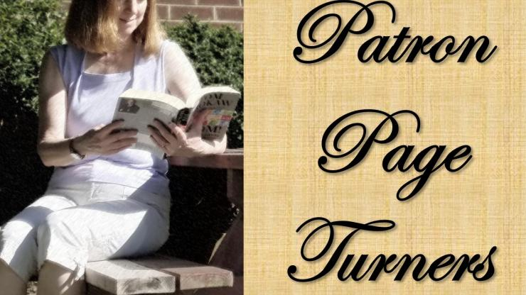 A person sits reading a books. To their right are the words Patron Page Turners