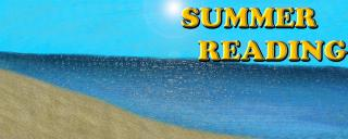 An image of the beach. The text reads Summer Reading