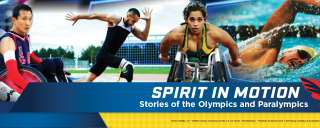 Promotion image for event. Four Paralympic competitors are seen participating in their events.