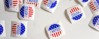 I voted stickers on table